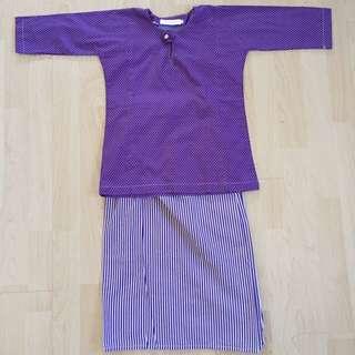 Purple Polkadot Kurung For Girls