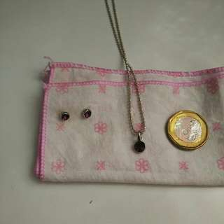 Purple stone necklace and earring set