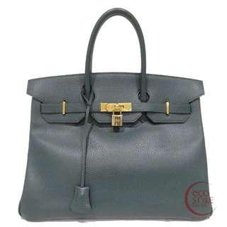 Authentic HERMES Birkin 35 Gold Hardware Handbag Green Ardenne 168-4 6.04