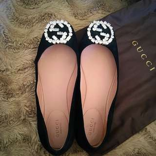 Authentic Gucci GG Sparkling Suede Ballerina Flat Black