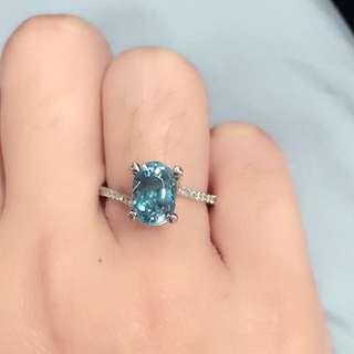 Sky Blue Zircon Diamonds Ring