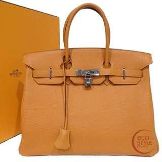 Authentic HERMES Birkin 35 mat SilverHardware Handbag orange Togo 94-1 6.04