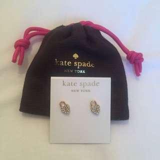 Kate Spade Gold Diamond Lock Earrings