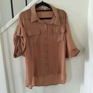 Light Brown/Camel Sheer Shirt
