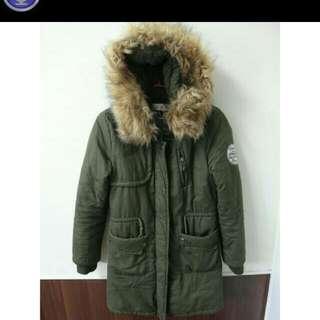 超保暖軍綠外套