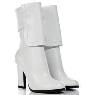 Jil Sander Designer Leather  White Calf Boots