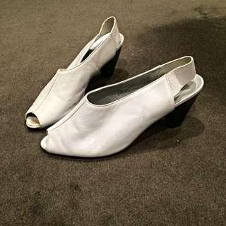 Vintage Charles Jourdan White Leather Heels