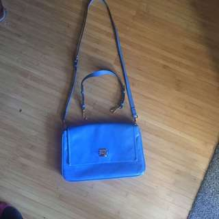 Leather Handbag Small Satchel Double M Milano Bag Blue Used One Time
