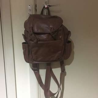 cute as faux brown leather backpack!