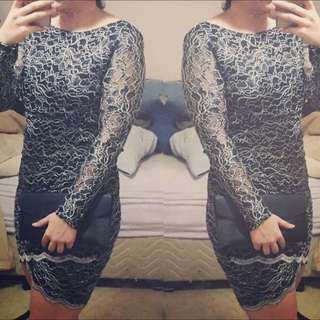 Size 10 Blue, white And Silver Lace Dress