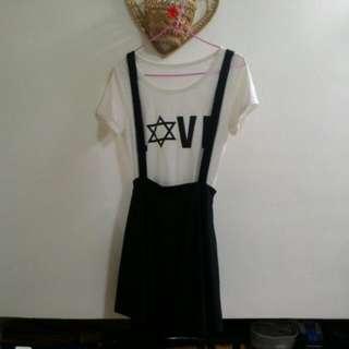 (已保留)白色字母T&黑色吊帶裙