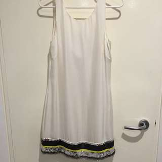 Sass & Bide White Silk Dress Two Piece With Sequence