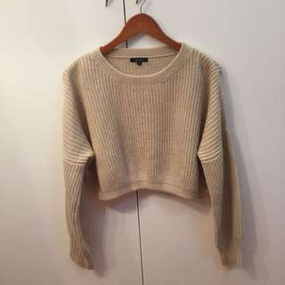 Beige Knitted Cropped Jumper