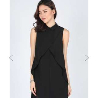Love Bonito Salettia Layer Shirt Dress (S) Black Sold Out Online