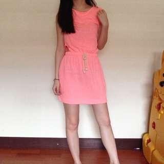 Zara螢光連身洋裝