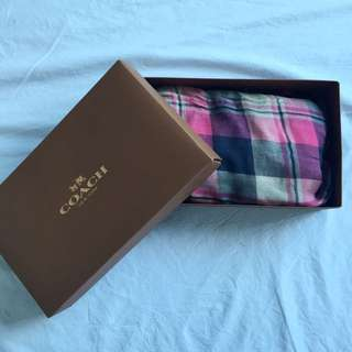 COACH Pink Plaid Scarf