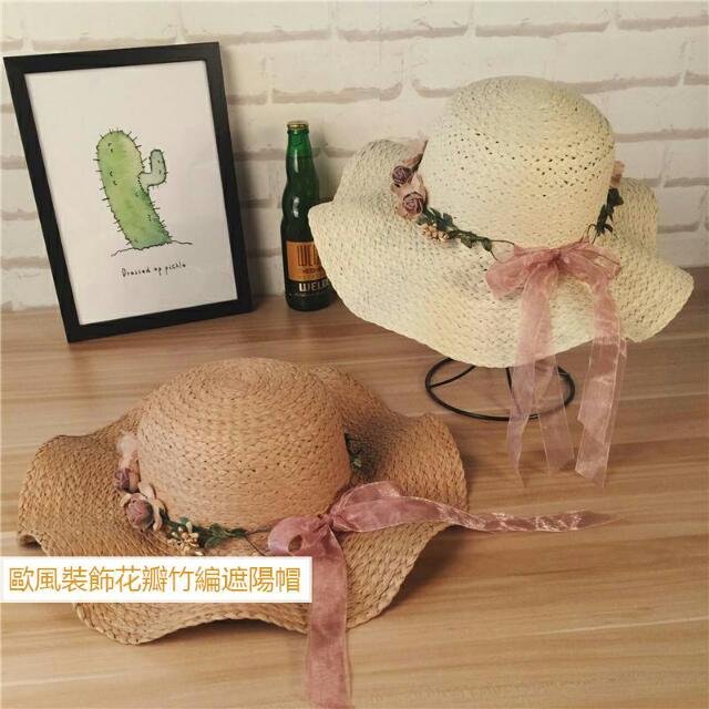 歐風裝飾花圈竹編遮陽帽 Ca4la 類似