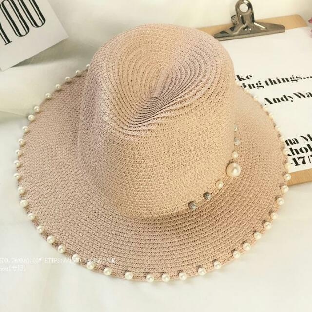 日系珍珠造型編織帽