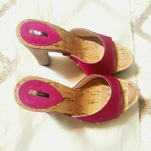 桃色小女人木跟馬毛高跟拖鞋  高質感 23.5適合23號
