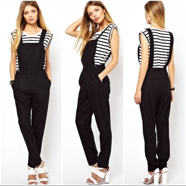ASOS TAILORED JUMPSUIT PLAYSUIT DUNGAREE WITH SIDE POCKETS IN BLACK (UK 8 / BNWT)