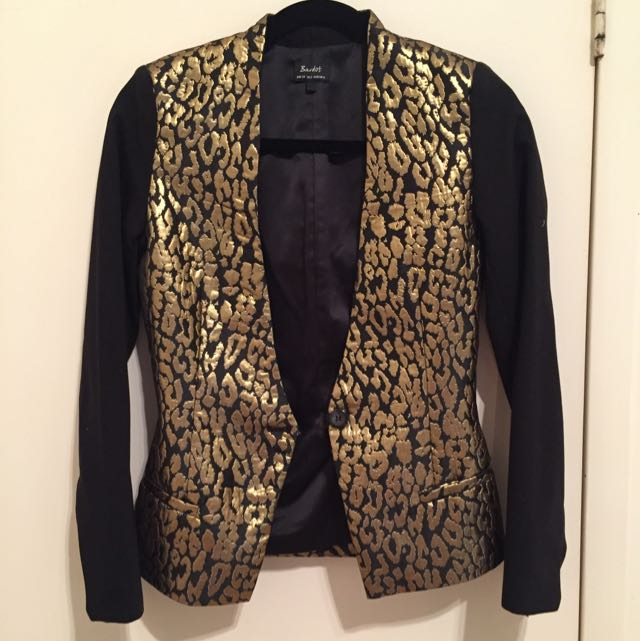 Bardot Gold Cheetah Printed Blazer
