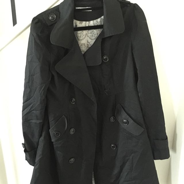 Black Trench Coat Size 10 (Paper Scissors)