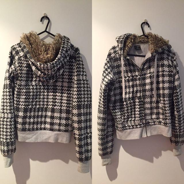 Black/Grey Furred Hoodie