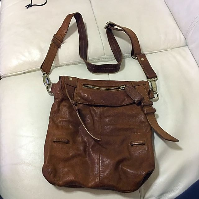 Brown 100% Genuine Leather Satchel And Clutch