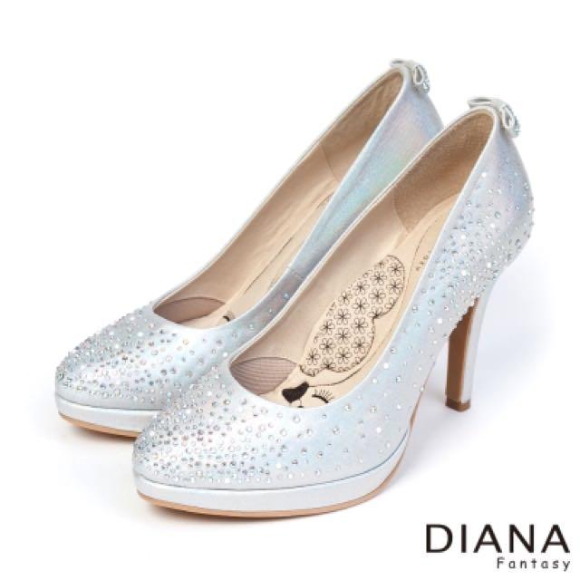 DIANA 超厚切LADY款--bling水鑽銀色新娘婚鞋