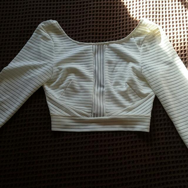 Long Sleeve Crop Top (Zipper At The Back)