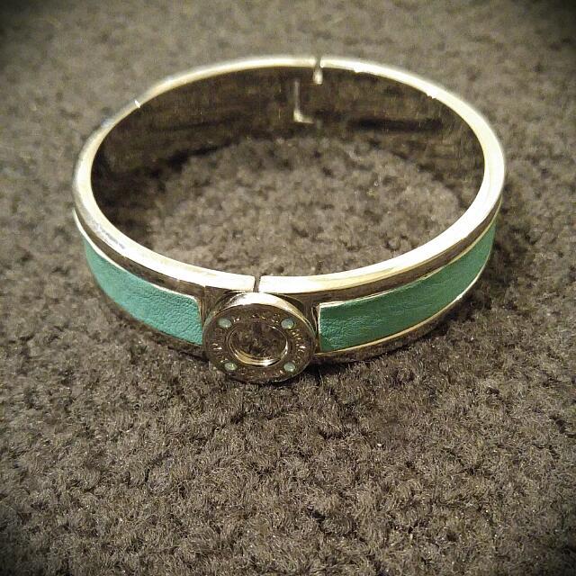 Mimco - Narrow Hinged Cuff Bangle. Silver/Green