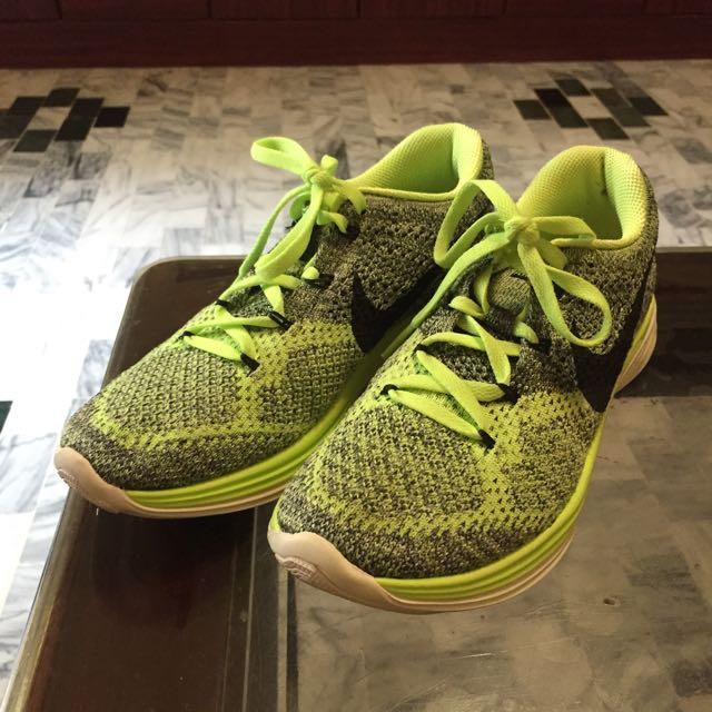 (((降價)))Nike 女生跑鞋 Flyknit Lunar 3 螢光黃編織鞋面 二手 6.5號