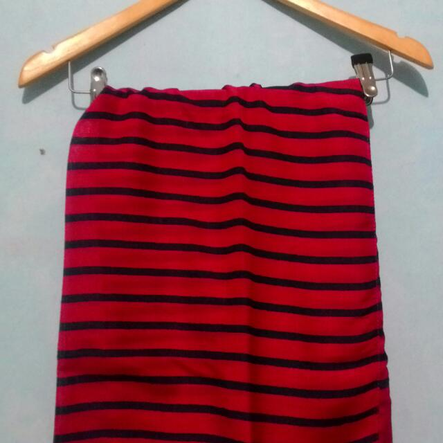 Pashmina Stripe Red - Navy
