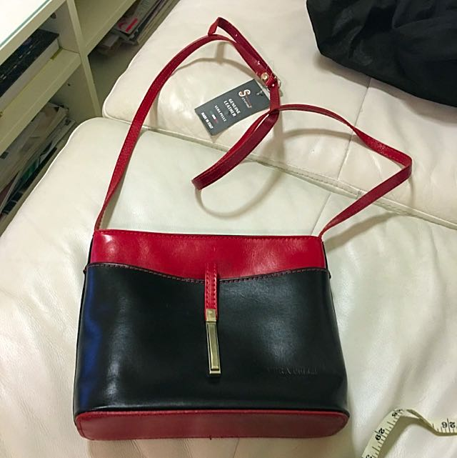 Red And Black Genuine Leather Satchel