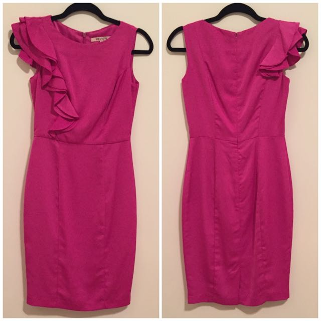 Review Magenta Ruffle Sleeve Dress