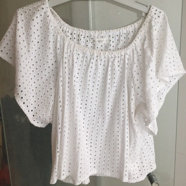 Seed White Crochet Floaty Top
