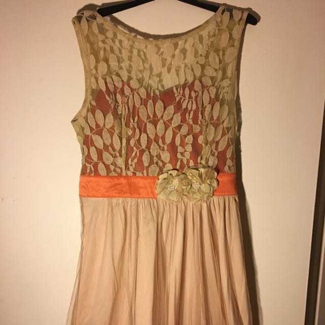 "Size L Dress Apricot Colour ""Home Sweet Scone"" By Ryu (Modcloth)"