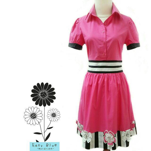 Solemio Flower Applique Pink Dress
