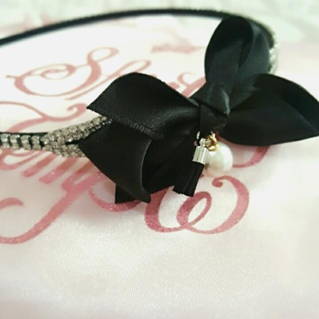 Swarovski水鑽珍珠緞面蝴蝶結髮圈
