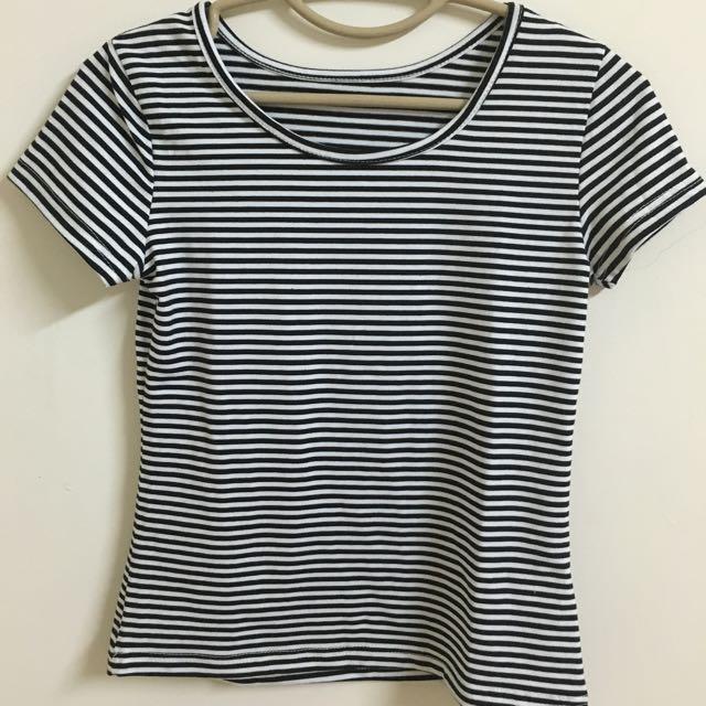 條紋短袖T恤-黑X白