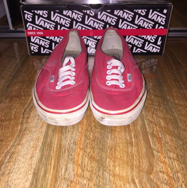 Worn Red Vans Size 10