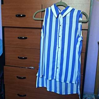 F21 Stripped Button Up Top