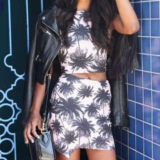 Pink Palm Top & Skirt Set