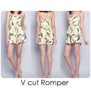 V Cut Romper Jumpsuit