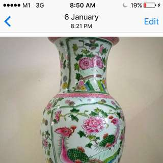 A Nice 2 Feet Tall Peranakan Vase.