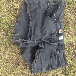 Black Denim Shirt Shorts