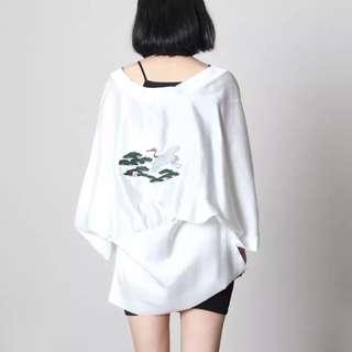 夏日和風防曬寬鬆蝙蝠刺繡外套