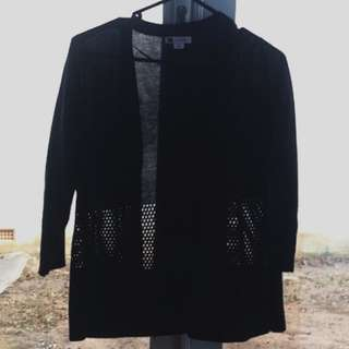 3/4 Sleeve Black Cardigan