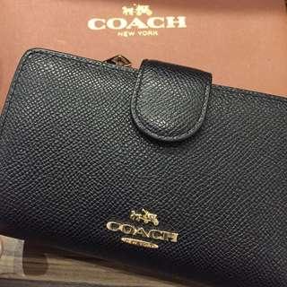 Coach 黑色荔枝紋防刮中夾