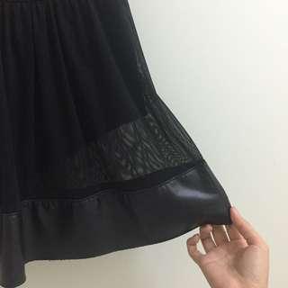Mesh & Pleather Skirt
